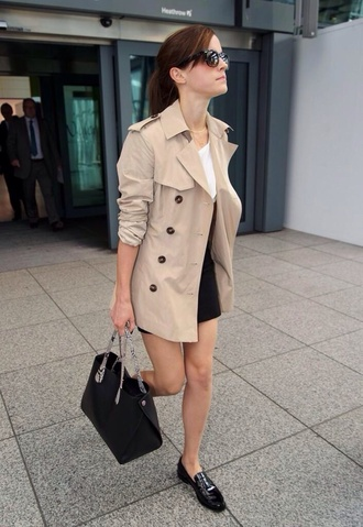 emma watson coat bag trench coat