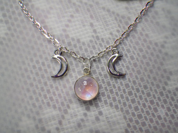 jewels necklace opal moon moon cute white stone stones