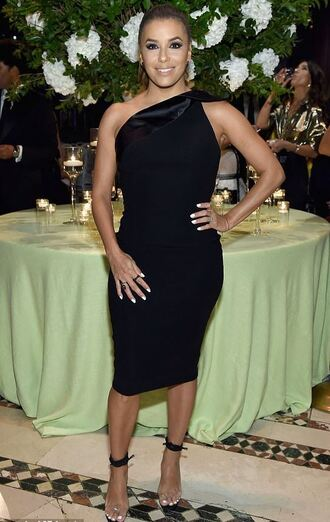 shoes sandals eva longoria black dress one shoulder midi dress