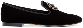 embellished loafers black velvet shoes