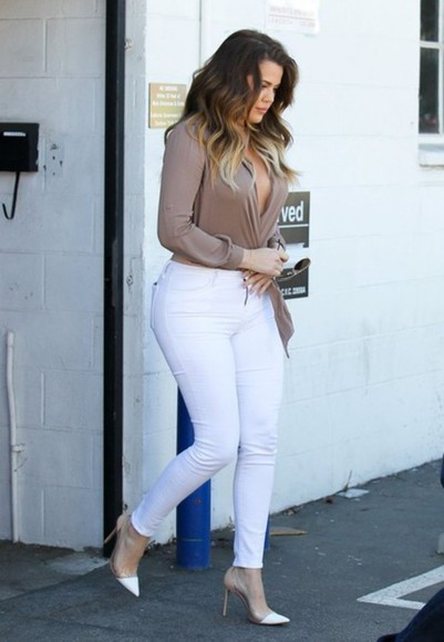 pants jeans kloe kardashion shoes shirt