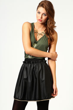 Tandy PU Skater Skirt with Chain Trim at boohoo.com