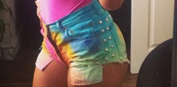 shorts multicolor jeans pockets ripped jeans dip dyed sexy
