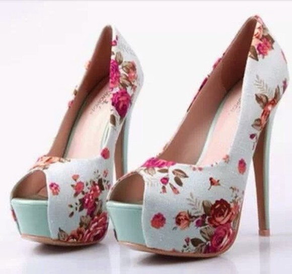floral shoes mint floral pumps high heels floral mint shoes
