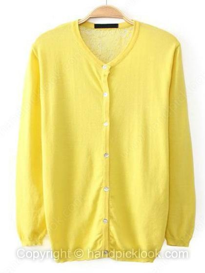 Yellow Scoop Long Sleeve Loose Knit Top - HandpickLook.com