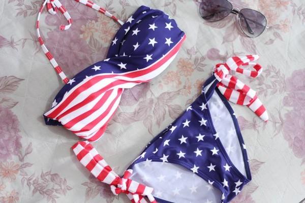 underwear romwe bikini us flag swimwear