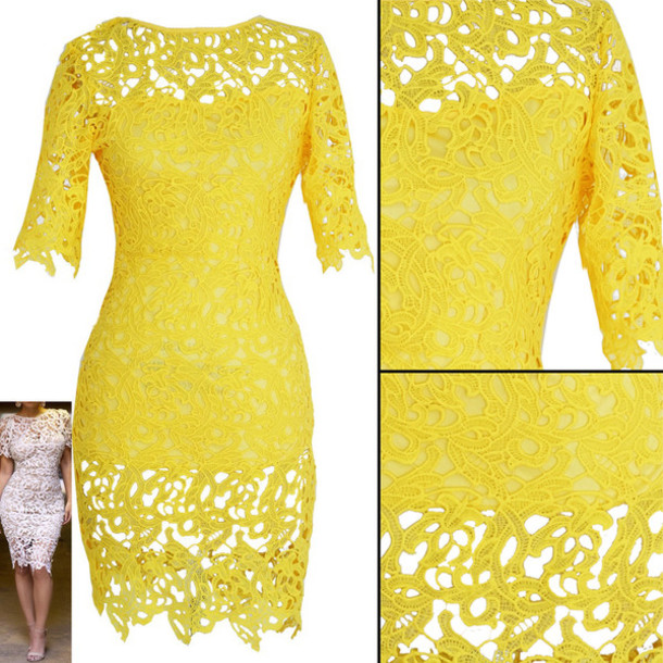 a61729572f6 dress crochet lace dress lace dress yellow dress yellow lace dress yellow  crochet dress crochet midi