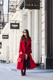 wendy's,lookbook,blogger,belt,coat,t-shirt,red coat,thigh high boots,red boots,red bag,red dress,spring outfits
