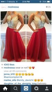 dress,modnessa,jewels,gold,red dress,gown,red,prom,prom dress,gild