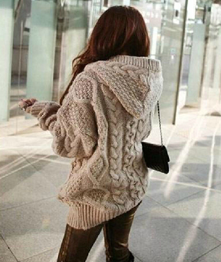 clothing — Loose Knit Cardigan Sweater Jacket