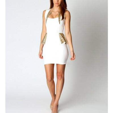 White Sequins Decor Peplum Dress @ Dresses,Casual Dress,Casual Dresses,Lace Dress,Womens Dresses,Sweater Dress,Maxi Dresses,V Neck Dress,Long Sleeve Dresses,Cute Dresses,Ladies Dresses,Junior Dress,Teen Clothing,Party Dresses,Black,Red,White Dress,Cheap Womens Dresses on sale @ maykool.c