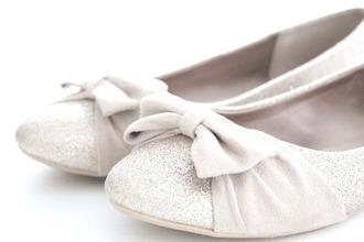 beige glitter ballet flats