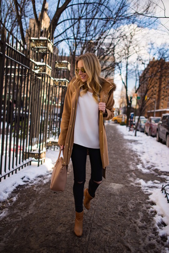 katie's bliss - a personal style blog based in nyc blogger bag coat top jeans shoes jewels winter outfits ankle boots camel coat black jeans