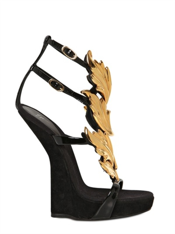 shoes wedges guiseppe zanotti wedges black shoes heels celebrity celebrity style celebrity style steal