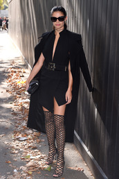 dress,coat,sara sampaio,model off-duty,all black everything,paris fashion week 2016,streetstyle