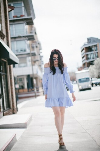 themiddlecloset blogger dress shoes sunglasses jewels blue dress spring outfits sandals
