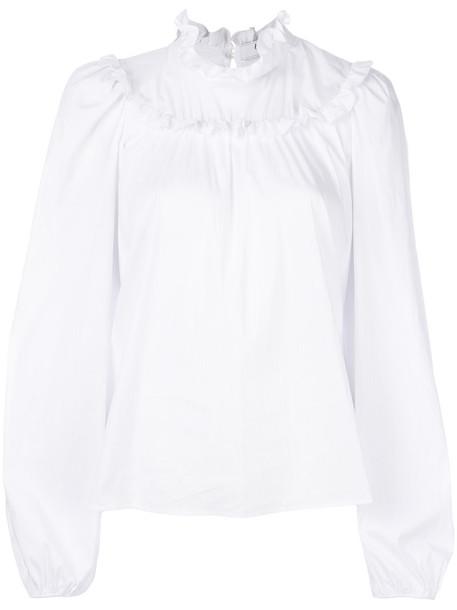 Blugirl blouse women spandex white cotton top