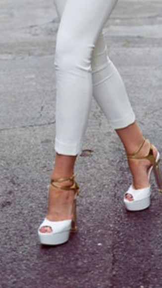 shoes peep toe white high heels gold heel