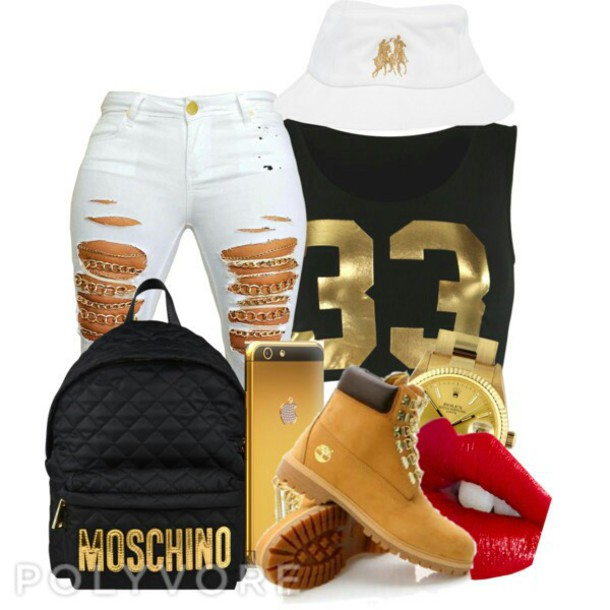 white jeans ripped jeans bucket hat dope wishlist