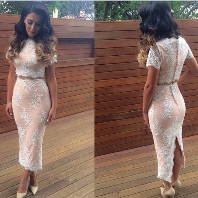 Aliexpress.com : Buy Scalloped Graduation Dresses 2016 Vestidos curto Two Piece Short Party Dress Lace Neckline Side Open Slit Formal Gowns from Reliable dress for plus size suppliers on Dresses bride Ltd.