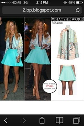 blouse,rihanna,leather skirt,printed blouse,skirt