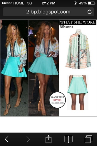 blouse rihanna leather skirt printed blouse skirt