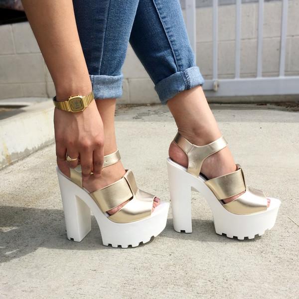 ddcb13fcfd7 shoes cicihot chunky heels lug sole heels gold white girly cute fashion  sexy flirty shoegame Shoegasm.