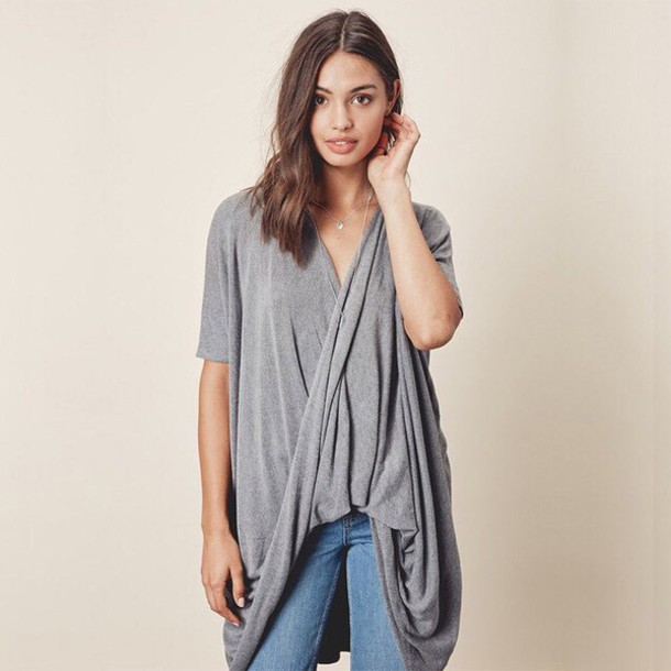Cardigan: short sleeve tunic sweater, lovestitch, twisted front ...