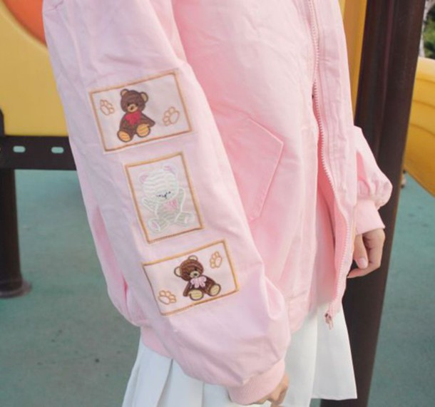 jacket korean fashion mori girl kawaii tumblr tumblr outfit fairy kei kawaii  grunge teddy bear pink 2354d7ba0
