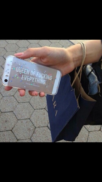 phone cover confetti clear queen queen of fucking everything iphone 6 case