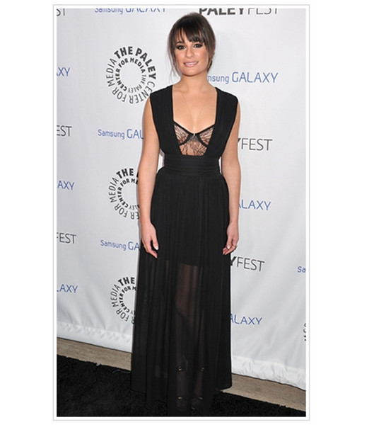 Underwear Sexy Lea Michele Black Dress Lace Formal Chiffon