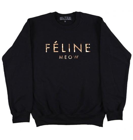 Brian lichtenberg  black feline sweatshirt with gold foil