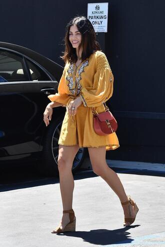 dress yellow yellow dress jenna dewan sandals wedges streetstyle purse bag