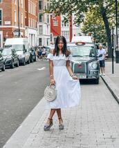 dress,white dress,off the shoulder,off the shoulder dress,bag,round bag,shoes