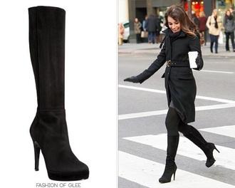 shorts black suede high heels rachel berr glee black suede booties