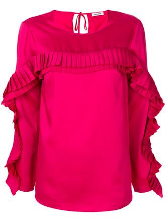 top pleated women purple pink
