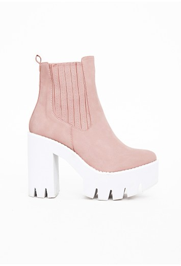Zeena cleated sole chelsea boots dusky pink
