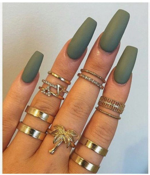 Nail Polish Colorful Nails Accessories Green Army Gold Ring Rings And Tings Knuckle