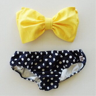 swimwear polka dots bikini yellow bow black and white strapless summer beach boogzel