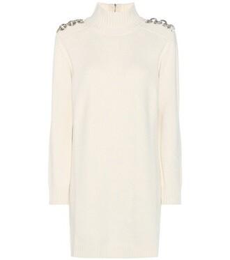 dress sweater dress wool white