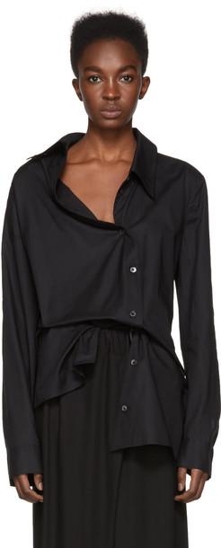 shirt asymmetric shirt black top