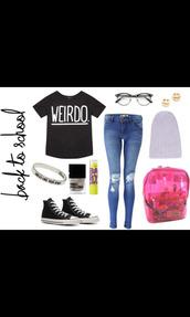 weirdo shirt,weird,weirdo,nerd glasses,skinny jeans,converse,black converse,beanie,baby lips,jeans,shirt