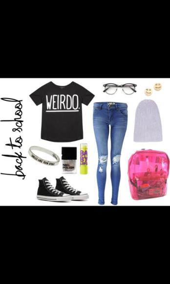 converse weirdo shirt weird weirdo nerd glasses skinny jeans black converse beanie baby lips