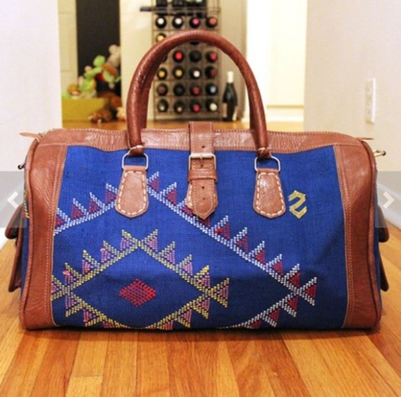 bag kilim ethnic native aztec southwest tribal color leather brown