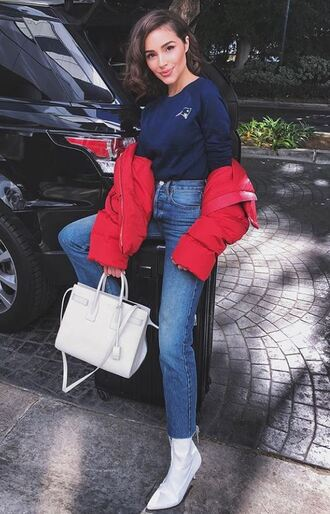 jeans top sweatshirt jacket boots olivia culpo instagram socks