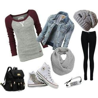 jacket jean jackets beanie baseball tee allstars converse grey scarf pants sweater grey beanie