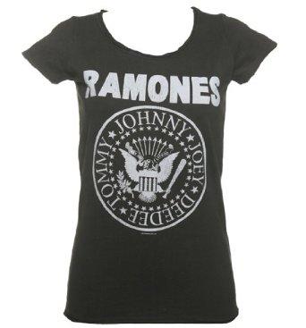 Ladies Charcoal Classic Ramones Logo T Shirt von Amplified Vintage: Amazon.de: Bekleidung