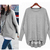 supergirlbeauty | Light Gray / Dark Gray Sports leisure fashion women sweater SW049 | Online Store Powered by Storenvy