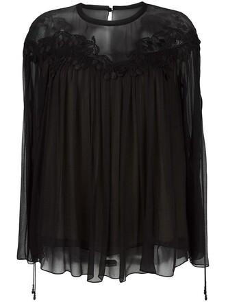 blouse cherry women black silk top