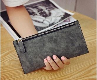 bag long wallet suede card holder pouch wallet leather women's women's wallet zip